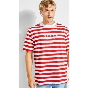 Guess Original Striped Red & White T-Shirt SIZE XS
